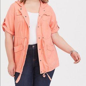 Torrid Orange Linen Hooded Anorak Sz.3 NWT